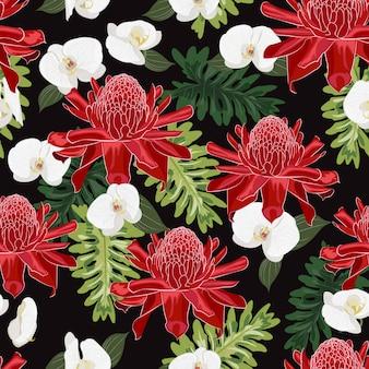 Nahtloses muster des roten fackelingwers mit weißer orchidee