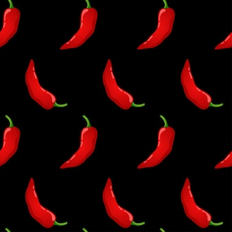 Nahtloses muster des roten pfeffervektors. scharfes gemüse mit mexikanischem chili. scharfe paprika-textur.