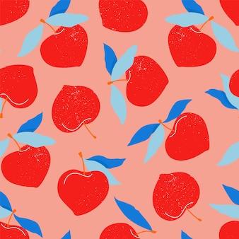 Nahtloses muster des roten pfirsichs. trendiges handgezeichnetes muster für schreibwaren, textilien und web. moderne illustration der großen runden nektarinenfrüchte. rote pfirsiche und blaue blätter. sommerfrüchte.