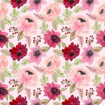 Nahtloses muster des roten und rosa blumenaquarells