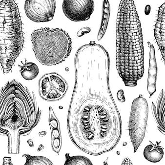 Nahtloses muster des saisongemüses. erntefest-vektor-hintergrund. handskizzierte kräuter, gemüse, pilzillustration. gesundheit lebensmittelzutaten hintergrund vektor-illustration.