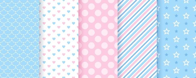 Nahtloses muster des sammelalbums. texturen mit tupfen, streifen, herz, stern, fischschuppe. trendy blau rosa drucke.