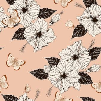 Nahtloses muster des schmetterlinges und des hibiskus eigenhändig zeichnen.
