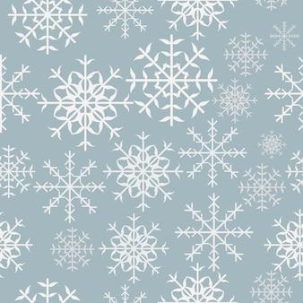Nahtloses muster des schneeflockenvektors des winters