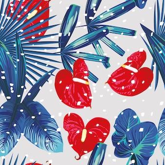 Nahtloses muster des schnees der tropischen pflanzen