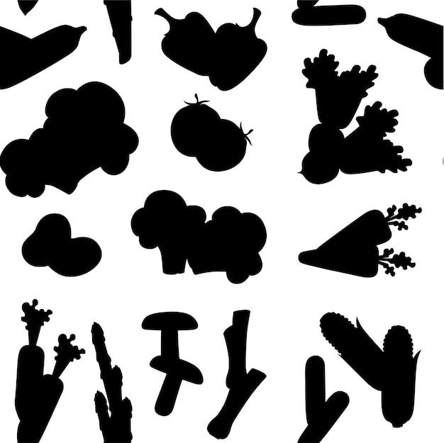 Nahtloses muster des schwarzen schattenbildes der flachen vektorillustration des frischen rohen gemüses auf weißem hintergrund.