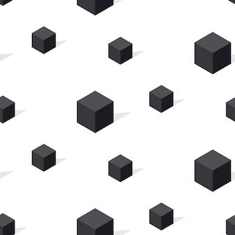 Nahtloses muster des schwarzweiss-konzepts. abstrakter würfel