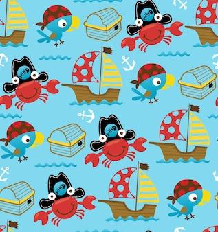 Nahtloses muster des segelthema-cartoons mit lustigen piraten, vogel und krabben.