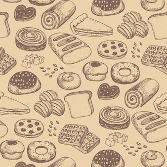 Nahtloses muster des selbst gemachten bäckereiproduktes