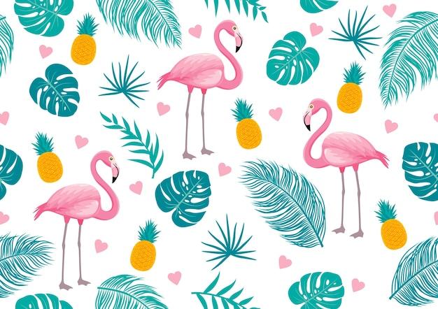 Nahtloses muster des sommers des flamingos und der tropischen blätter