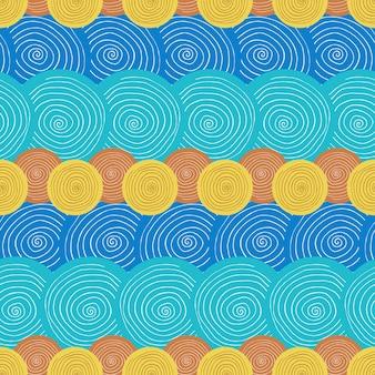 Nahtloses muster des sommers. ethnischer hintergrund mit kreisen. textil- oder verpackungsdesign.