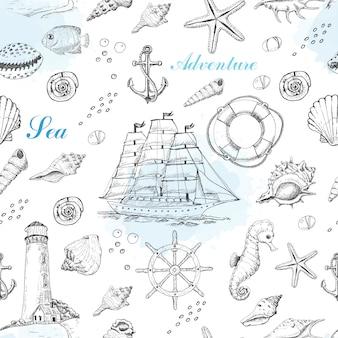 Nahtloses muster des sommers mit marineelementen
