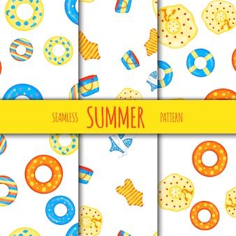 Nahtloses muster des sommers stellte mit strandzubehör ein. cartoon-stil. vektor-illustration.
