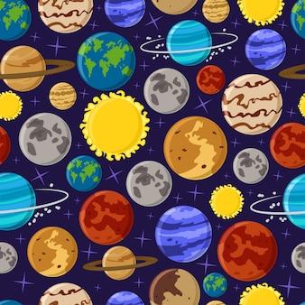 Nahtloses muster des sonnensystems auf hintergrund für tapete, verpackung, verpackung. karikaturplanetenbeschaffenheit und -hintergrund.