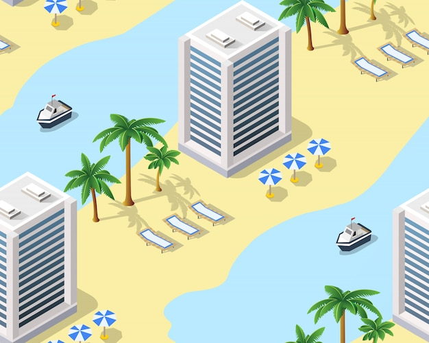 Nahtloses muster des strandes des touristenreisehotels