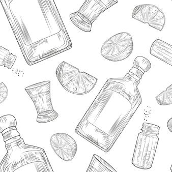 Nahtloses muster des tequila. schnapsglas und flasche tequila, salz, limette