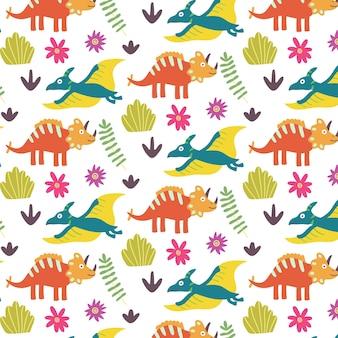 Nahtloses muster des tropischen blattdinosauriers des sommers