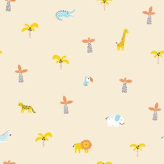 Nahtloses muster des tropischen dschungels tiere und palmen einfacher handgezeichneter skandinavischer doodle-stil