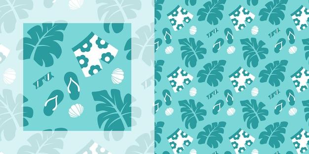 Nahtloses muster des tropischen sommers von strandkleidung und -accessoires