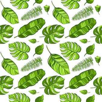 Nahtloses muster des tropischen vektors mit exotischen palmblättern