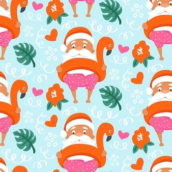 Nahtloses muster des tropischen weihnachtsfestes mit sommer-weihnachtsmann im aufblasbaren flamingo-ring.
