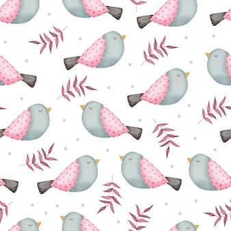 Nahtloses muster des valentinsgrußes mit vögeln