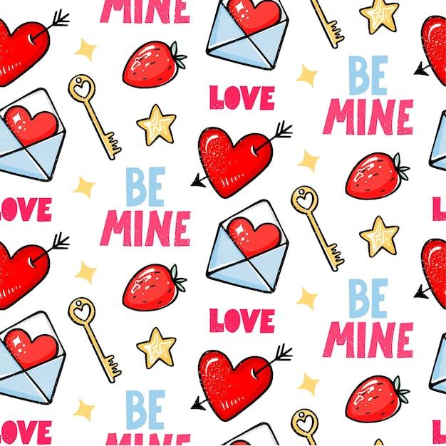 Nahtloses muster des valentinstags. liebe, herz mit pfeil, erdbeere, schlüssel und sei mein schriftzug.