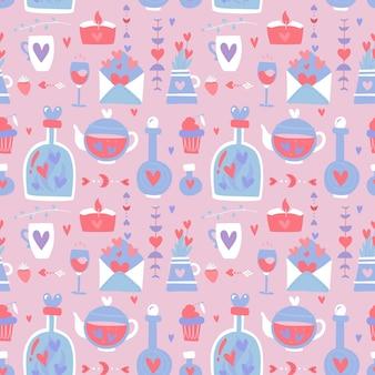 Nahtloses muster des valentinstags. liebe, romantik flache ikonen - herzen, trank, flaschen, lette