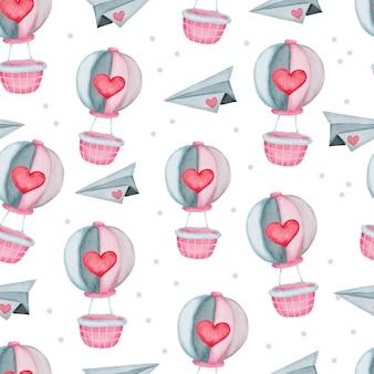 Nahtloses muster des valentinstags mit liebeselementen