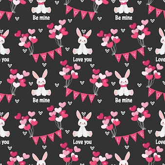 Nahtloses muster des valentinstags mit nettem kaninchen.