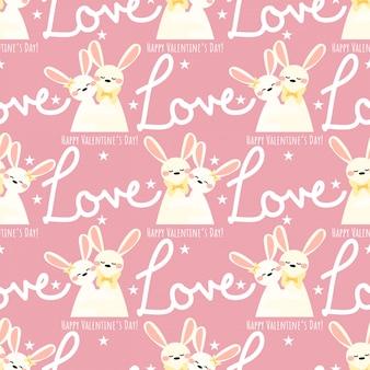 Nahtloses muster des valentinstags mit netten kaninchenpaaren.