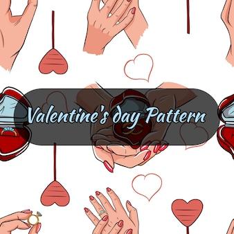 Nahtloses muster des valentinstags mit ring und händen.