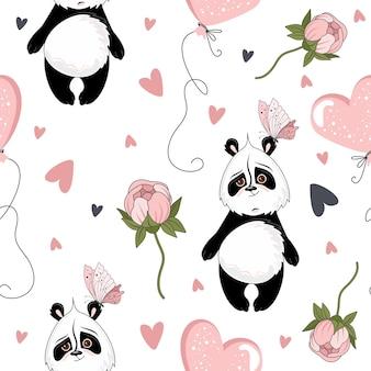 Nahtloses muster des valentinstags. romantischer panda mit festlichen elementen.