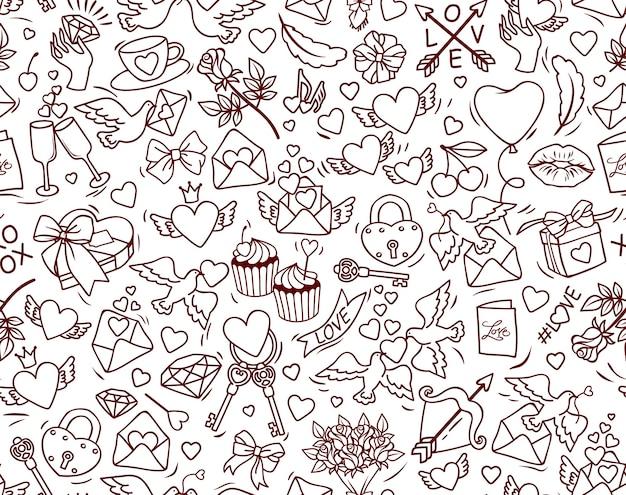 Nahtloses muster des valentinstags. viele niedliche karikaturelemente auf weißem hintergrund.
