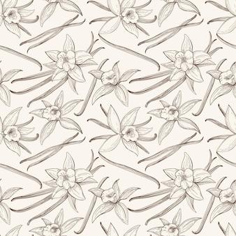 Nahtloses muster des vanillesticks und der blumenhand gezeichnet. geschmack vanilleblüte