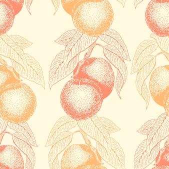 Nahtloses muster des vektors der früchte hand mit pfirsich