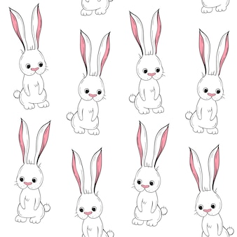 Nahtloses muster des vektors niedliches kaninchen. skandinavische motive. cartoon hintergrund.