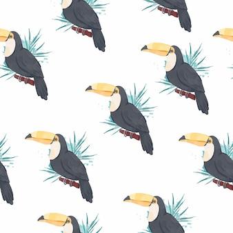 Nahtloses muster des verspielten tukans im aquarellstil