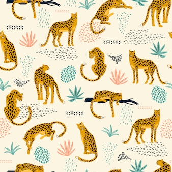 Nahtloses muster des vestor mit leoparden