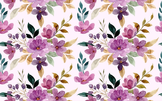 Nahtloses muster des violetten blumenaquarells