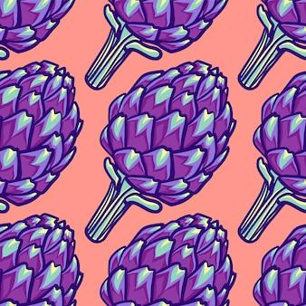 Nahtloses muster des violetten köpfchens der artischocke.
