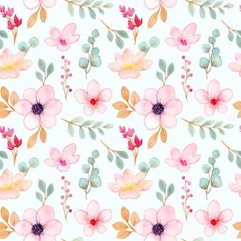 Nahtloses muster des weichen rosa blumenaquarells