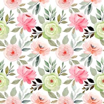Nahtloses muster des weichen rosa grünen blumenaquarells