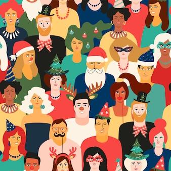 Nahtloses muster des weihnachten und des guten rutsch ins neue jahr mit leuten in den karnevalskostümen.