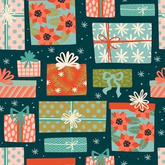 Nahtloses muster des weihnachts- und guten rutsch ins neue jahr