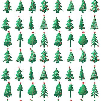 Nahtloses muster des weihnachtsbaums lokalisiert auf weißem hintergrund. flache vektorgrafik. design für textilien, verpackungen, tapeten, dekoration