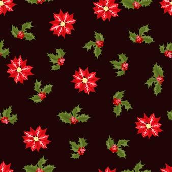 Nahtloses muster des weihnachtsbeerenblumen-vektors.