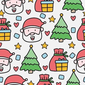 Nahtloses muster des weihnachtskritzelskarikatur