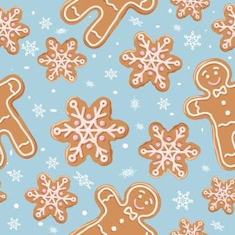 Nahtloses muster des weihnachtslebkuchens