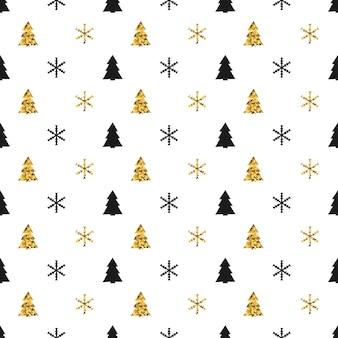 Nahtloses muster des weihnachtsneuen jahres mit schneeflocken weihnachtsbaum.